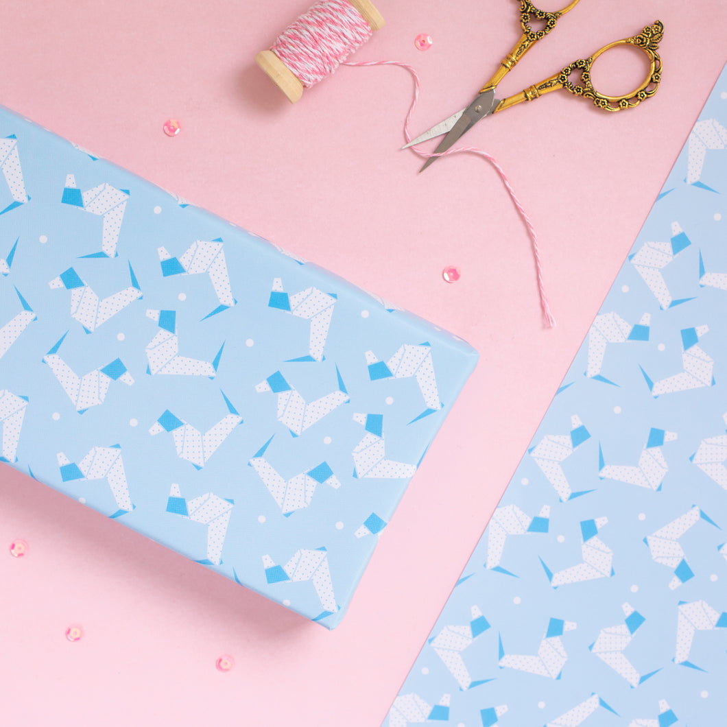 Origami Blue Dog Wrapping Paper