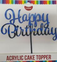 Blue 'Happy Birthday' Cake Topper