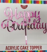 Pink 'Happy Birthday' Cake Topper