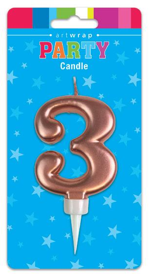 Large Rose Gold Number '3' Candle