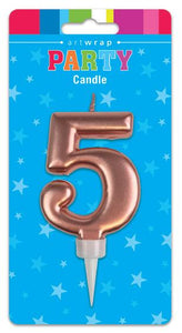 Large Rose Gold Number '5' Candle