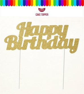 Gold Card 'Happy Birthday' Cake Topper