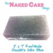 "Rectangle Naked Cake 11"" by 7"" Chocolate"