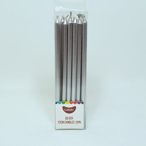 Long Candles pkt of 12 - Silver