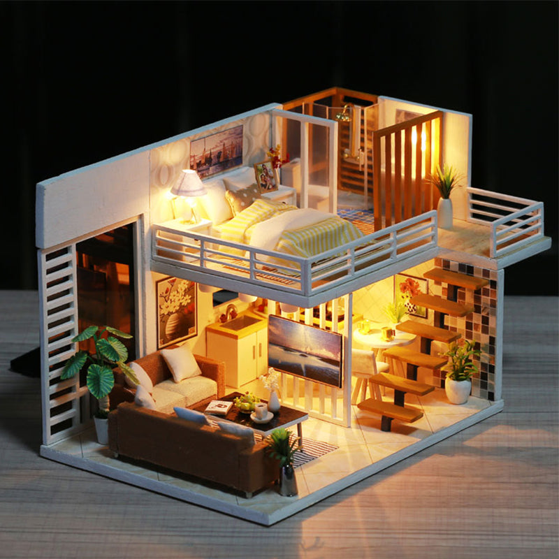 Beautiful Modern DIY Miniature Wooden Doll House With Furniture And Lights