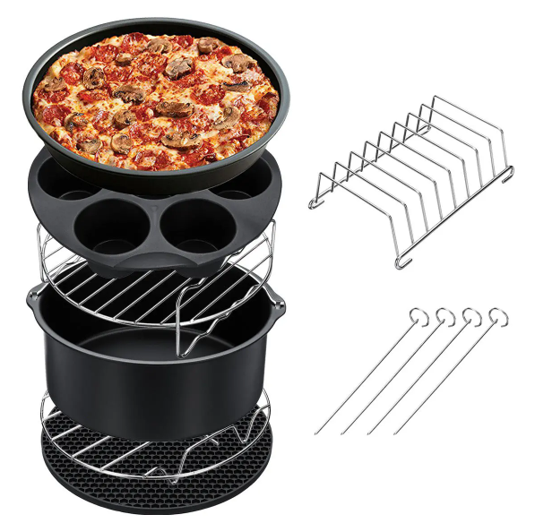 Cool Cornelius™ Air Fryer Accessories 7-pc Set Baking Basket Pizza Pan Home Kitchen Tool