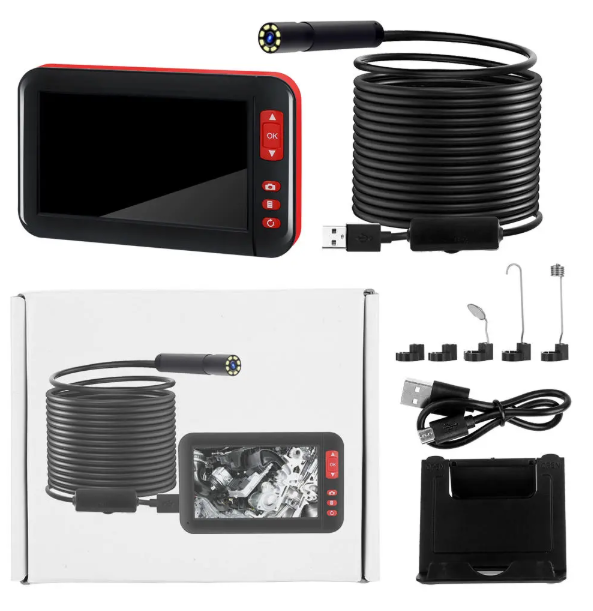 Cool Cornelius™ Endoscope Video Repair Tool 2M/5M/10M w/ 4.3-inch 8MM 1080P Color Display Screen  8 LED Inspection Camera Built-in