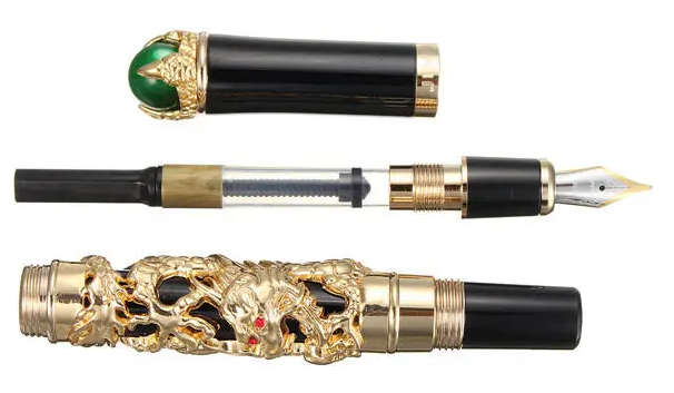 Cool Cornelius™ Fountain Pen JINHAO Golden Dragon Heavy  Clip Medium Nib 18KGP Business Men Gift