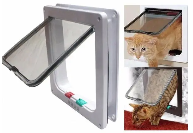 Cool Cornelius™ Pet Door, Dogs Cats, Lock Frame Safe Security Flap Door Gate - Large