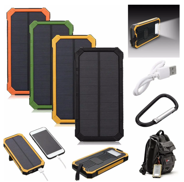 Cool Cornelius™ Battery Power Bank 8000mAh Solar Waterproof Portable Charger Dual USB