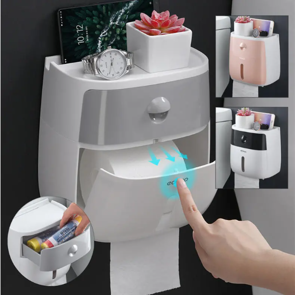 Cool Cornelius™ Toilet Paper Holder Wall Mounted Self Adhesive Tissue Paper Holder Box For Roll Paper Kitchen Paper Tissue Paper - Black