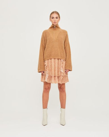 Florie Zipped Knit - Glazed Ginger