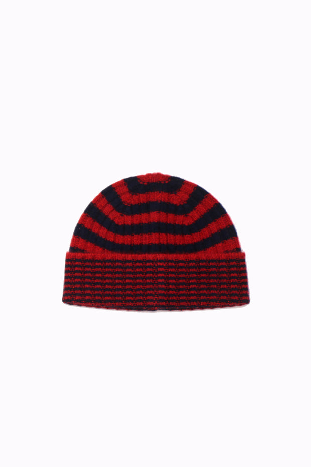 Calluna Cashmere Hat - Red/Back Stripes
