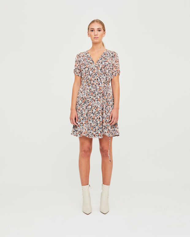 Kate Wrap Dress - India Ink Print