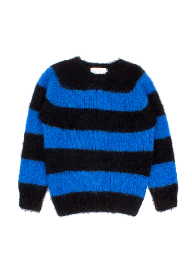 Finlay O-Neck Sweater - Black/Bright Blue
