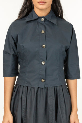 Poplin Cropped Shirt - Dark Ink Blue
