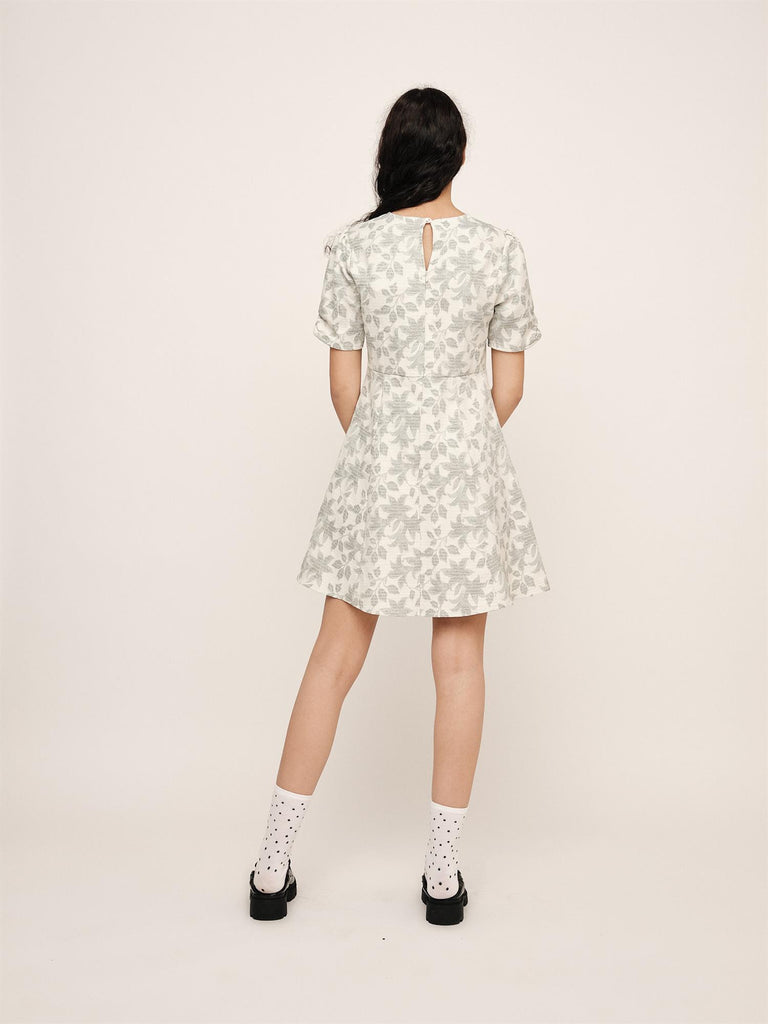 Hanneli Short Dress - Hedge Green Print