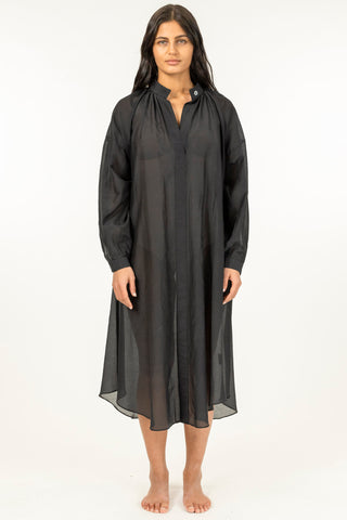 Striped Sheer Caftan - Black