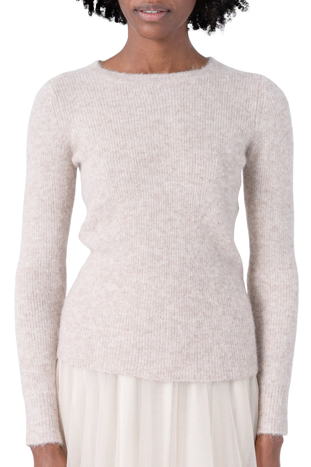 Aspen Ribbed Crewneck - Light Taupe Melange