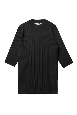Ribbed Crewneck W/Shortsleeve - Black - F5 Concept Store