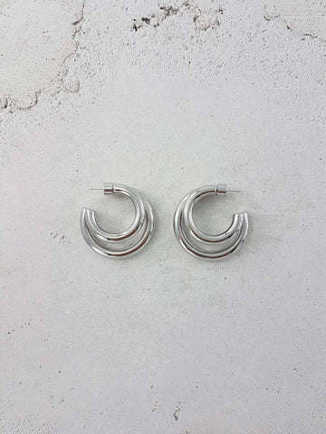 Twin Hoops - Rhodium