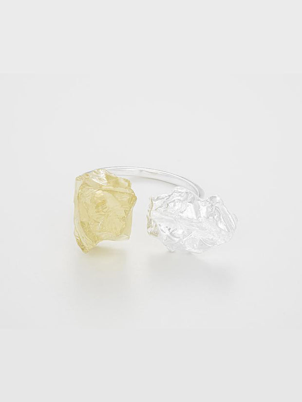 The Wild Flower  Ring - Silver/Lemon Quartz