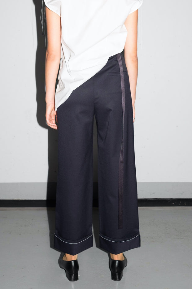 Gathered Suit Trousers - Navy White Topstitch