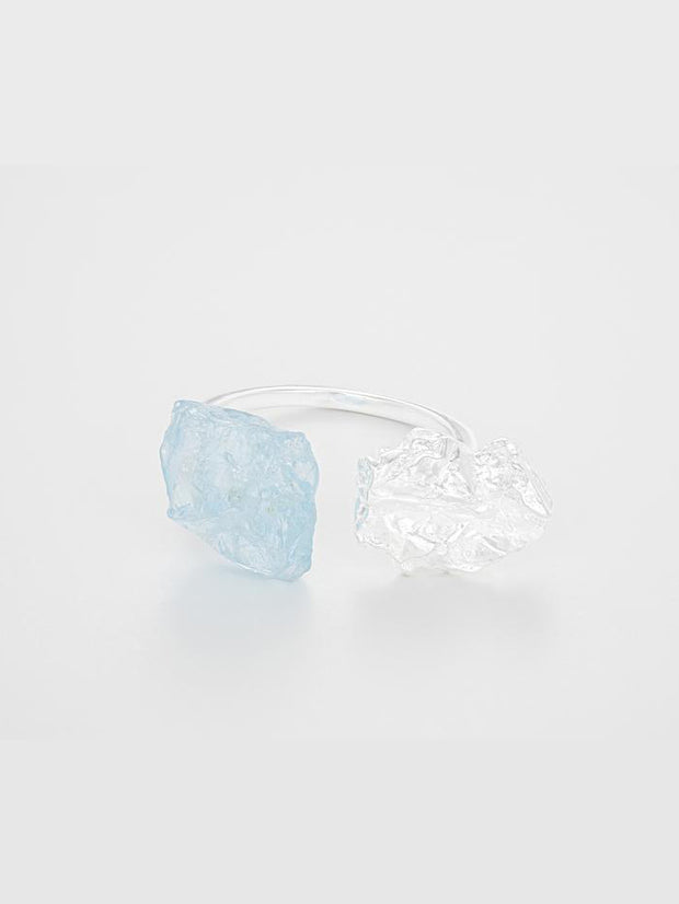 The Wild Flower  Ring - Silver/Blue Topaz