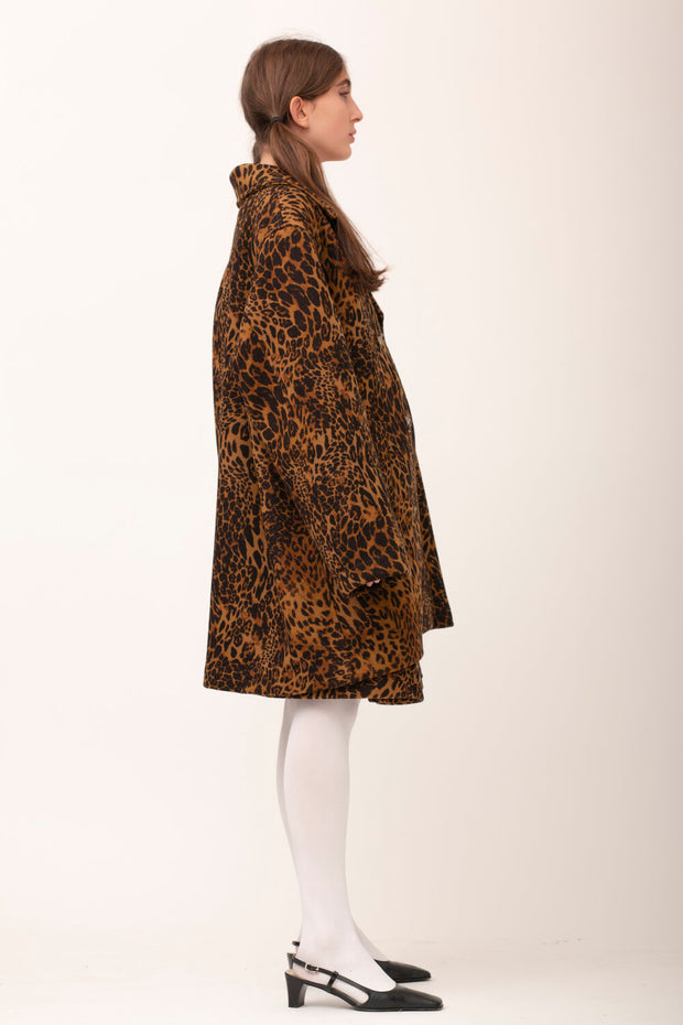 Leopard Wool Coat - Brown