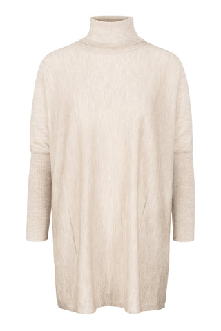Wide Turtleneck - Beige Melange