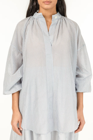 Striped Sheer Poem Shirt - French Blue Stripes