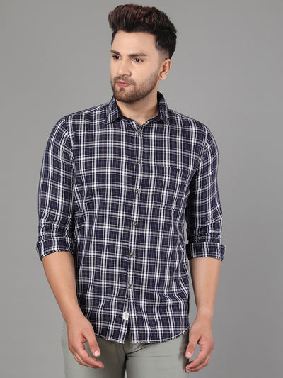 Callino London Men's Carbon Blue & White  Checked Casual Cotton Shirt