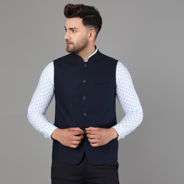 Callino London Men's Navy Plain Formal Waist Coat