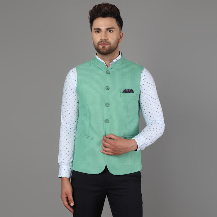 Callino London Men's Green Textured Formal Waist Coat