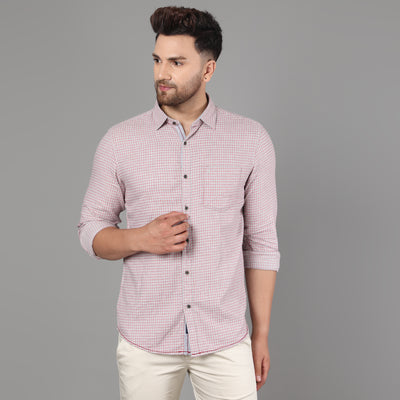 Callino London Men's Red And Grey Checked Casual Cotton Shirt