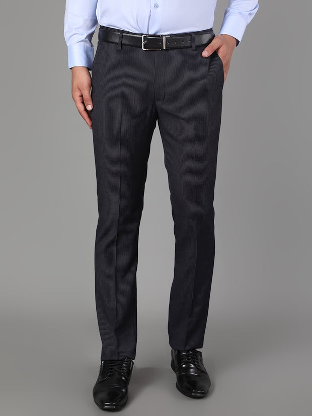 Callino London Men's Black Stripe Formal Trouser