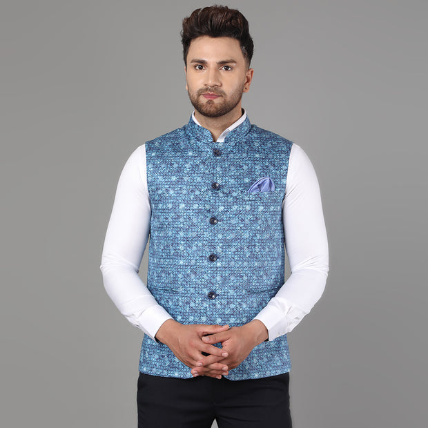 Callino London Men's Blue Printed Formal Waist Coat