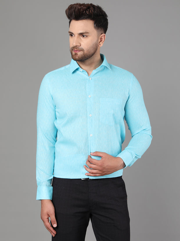 Callino London Men's Aqua Blue Plain Formal Cotton Shirt