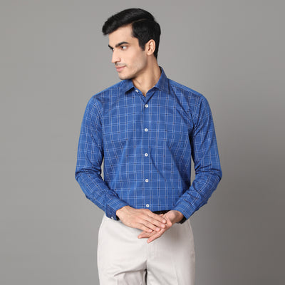Callino London Men's Blue Checked Formal Giza Cotton Shirt