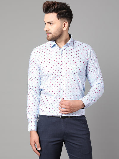 Callino London Men's Blue & Pink Printed Formal Giza Cotton Shirt