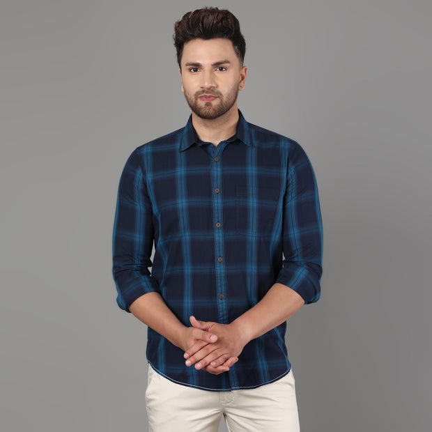 Callino London Men's Navy Blue & Turquoise Checked Casual Cotton Shirt