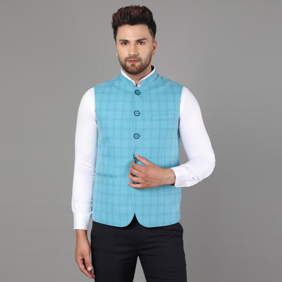 Callino London Men's Green Checkered Formal Waist Coat