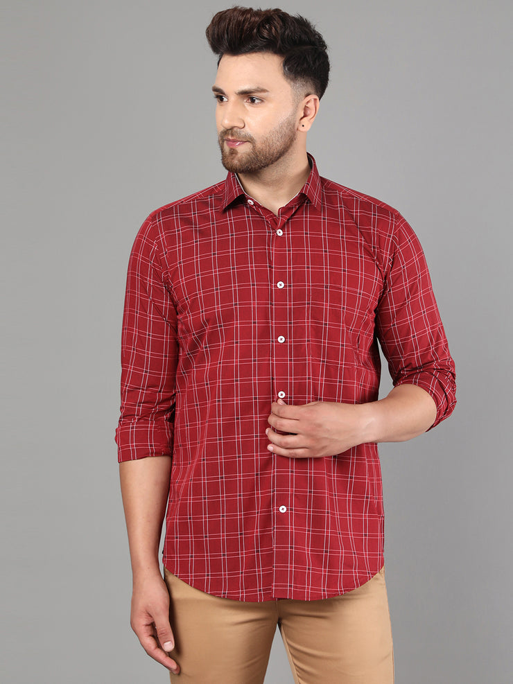 Callino London Men's Maroon Checked Formal Giza Cotton Shirt
