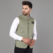 Callino London Men's Olive Printed Regular Fit Formal Waist Coat