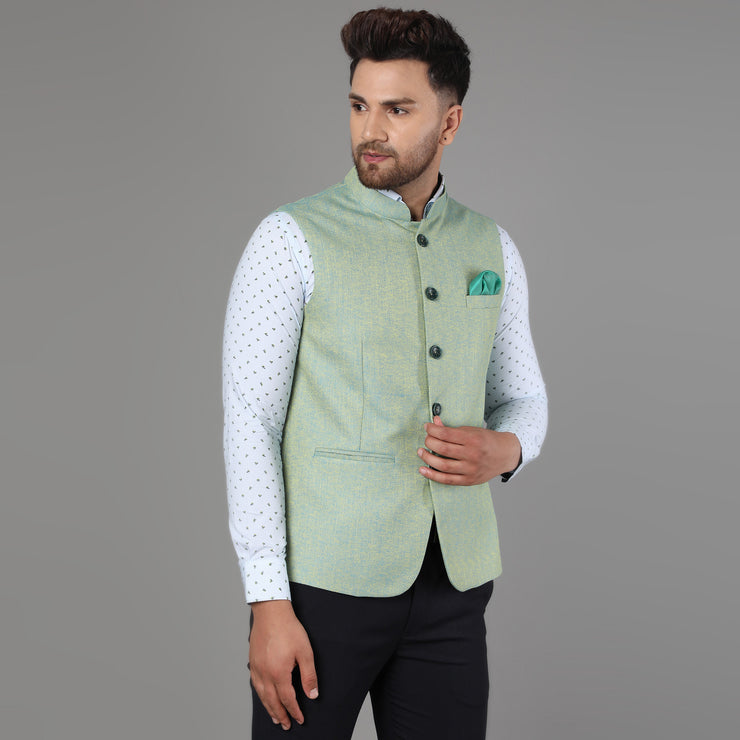 Callino London Men's Aqua Green Formal Waist Coat