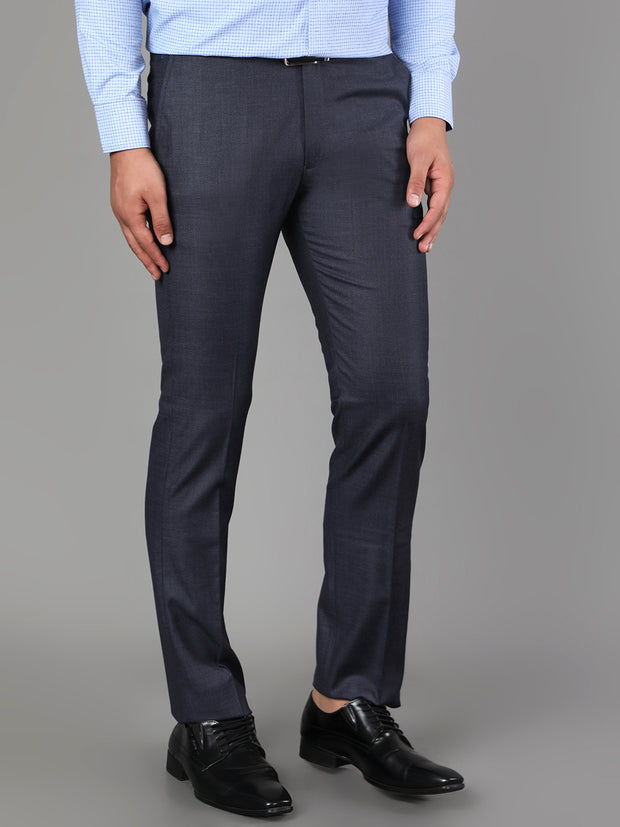 Callino London Men's Blue Textured Formal Trouser
