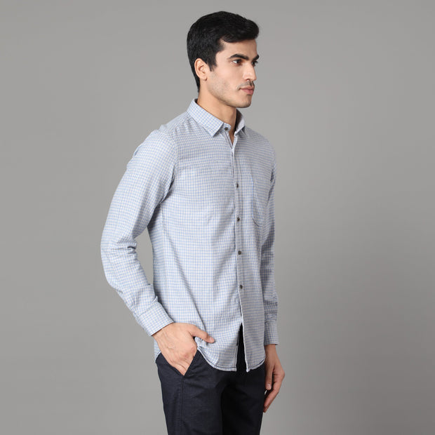 Callino London Men's Blue and Grey Checkered Casual Cotton Shirt