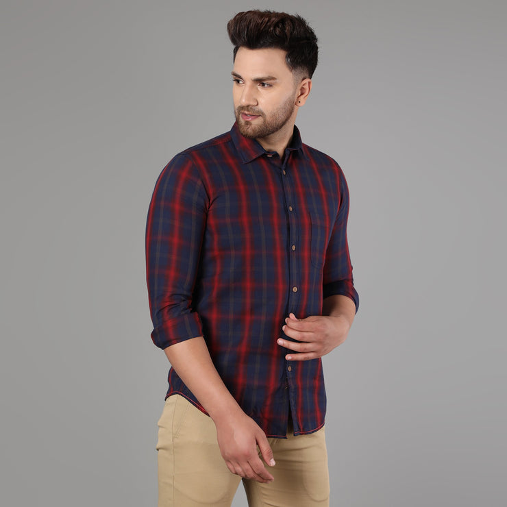 Callino London Men's Blue & Red Checkered Casual Cotton Shirt