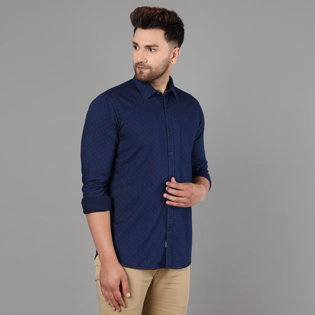 Callino London Men's Navy Printed Casual Cotton Shirt