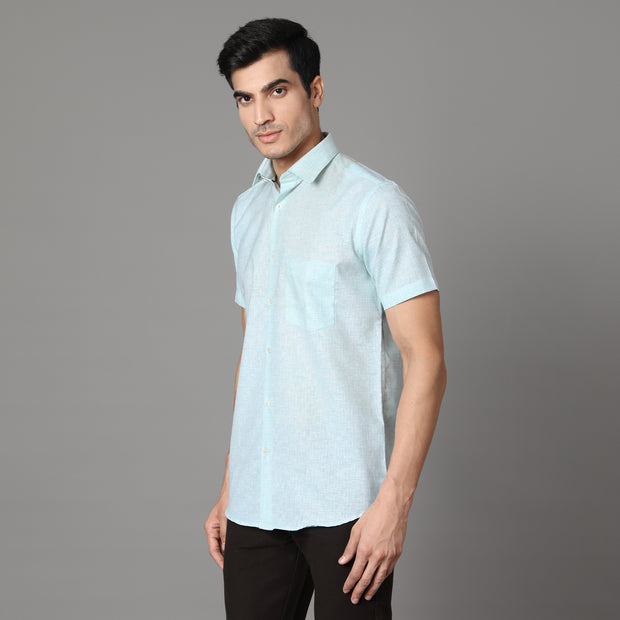 Callino London Men's Mint Plain Formal Cotton Shirt